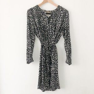 LOFT Printed Tie-Waist Dress